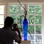 """Blue Axis"" glass sculpture by Alan Patrick Ness"
