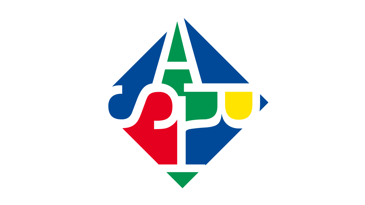 """Hawaii Alliance Logo - the logo is a diagonal square with the letter """"A"""" at the top, the letter """"R"""" 45 degrees to the right, the letter """"T"""" another 45 degrees to the right so it is upside-down, and the letter """"S"""" another 45 degrees. The white letters are on a background of blue, red, green, and yellow."""