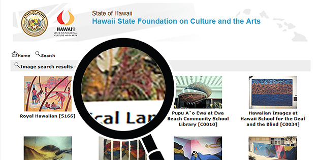 Screenshot of Art in Public Places Collection online catalog