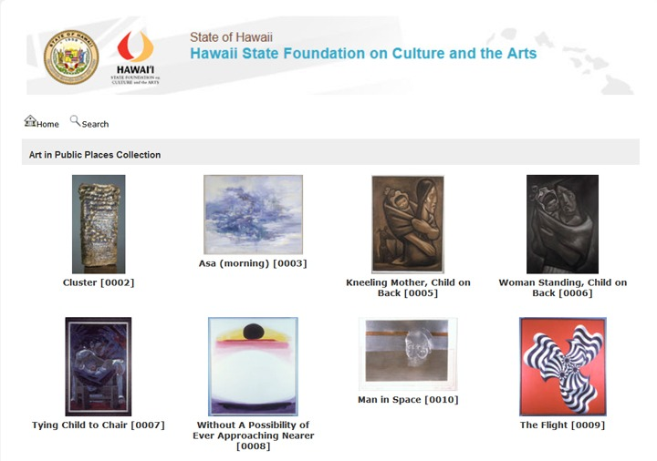 screenshot of the online catalog showing thumbnails of artwork