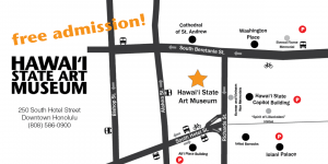 "Map of Hawaii State Art Museum location and text reading ""free admission!"""