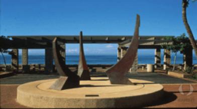 "Bronze sculpture ""Lahui"" at Kakaako Waterfront Park."