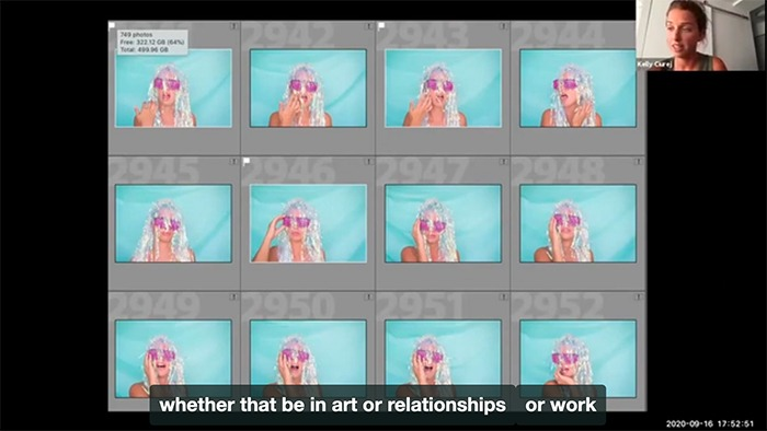 Screenshot from presentation. Photographer Kelly Ciurej speaking about the self-portrait shared on the screen.