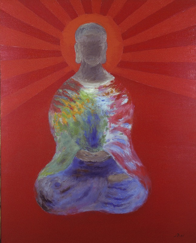 Painting of a seated figure on a red background.